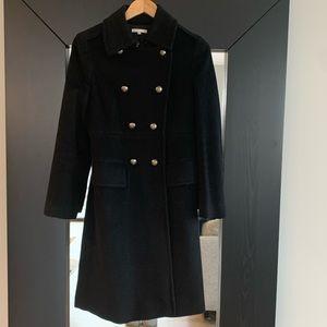 Vince Cashmere Long Military Pea Coat Black